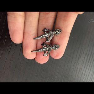 nOir gunmetal diamond dagger design earrings